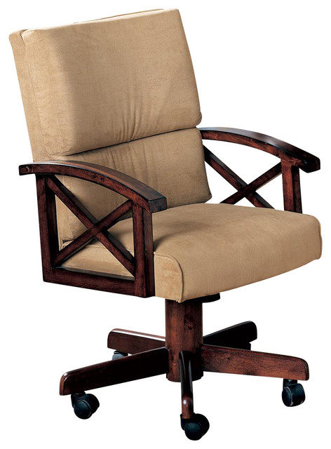 Casual beige marietta upholstered arm game chair with for Upholstered desk chairs with wheels
