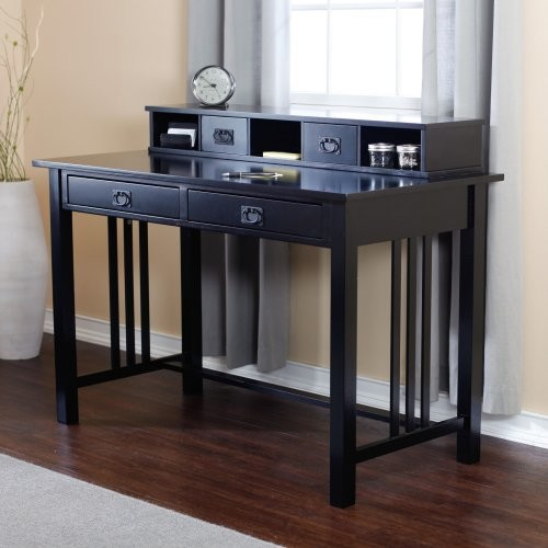 Mission Writing Desk with Hutch - Black contemporary-desks-and-hutches