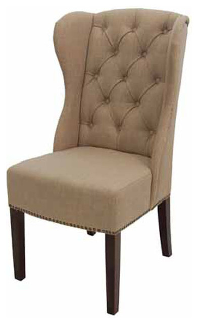 High back wing tufted dining arm chair in tan or charcoal for High back dining room chairs with arms