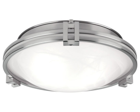 """Possini Euro Design - Possini Euro Design 12 3/4"""" Wide Ceiling Light Fixture - A disk of marbleized glass framed in brushed nickel finished steel creates a sleek silhouette ideal for lower ceilings. Features a distinctive Art Deco influenced design. A great look for anywhere in the home. From the Possini Euro Design Lighting Collection. Takes two maximum 100 watt bulbs (not included). 12 3/4"""" wide. 4 1/2"""" high.  Contemporary ceiling light.  A Possini Euro Design lighting fixture.  Brushed nickel finish.  Marbleized glass.  Takes two maximum 100 watt bulbs (not included).  12 3/4"""" wide.  4 1/2"""" high."""