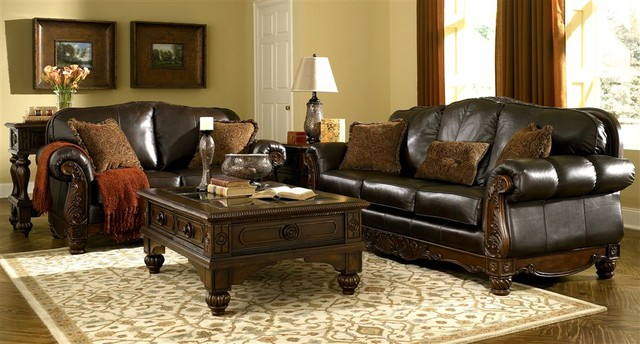 ashley north shore dark brown living room