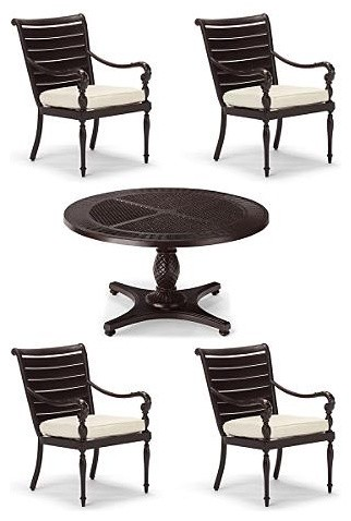 British Colonial 5-pc. Round Dining Set - Frontgate, Patio ...