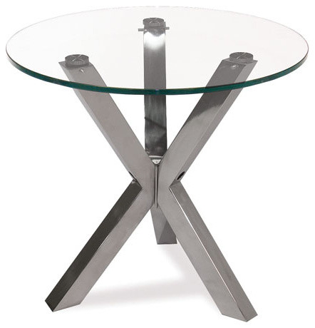 Moe's Home Redondo Round Glass End Table with Stainless Steel Base contemporary-side-tables-and-end-tables