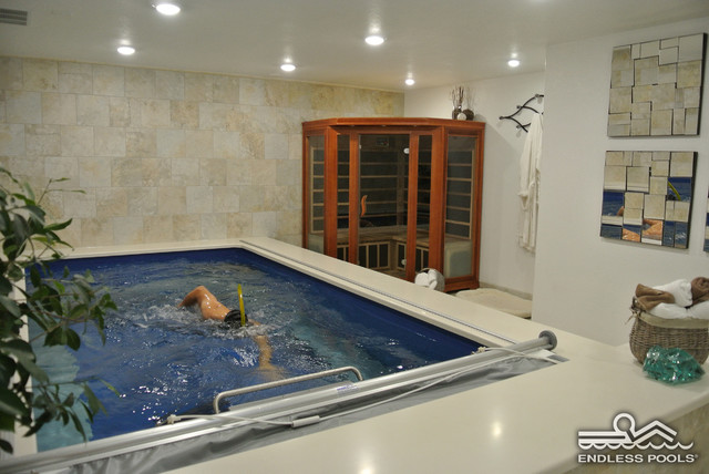 basement endless pool contemporary swimming pools and