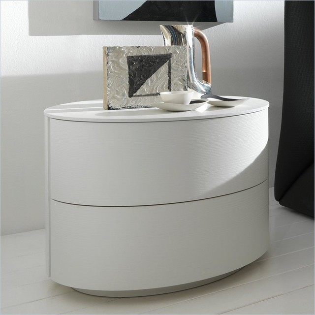 Moon 2 drawer nightstand white modern nightstands and for Modern bedside tables nightstands
