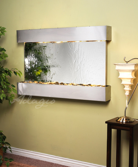 Glass and Mirrored Wall Water Features - The Sunrise Springs Mirrored contemporary-indoor-fountains