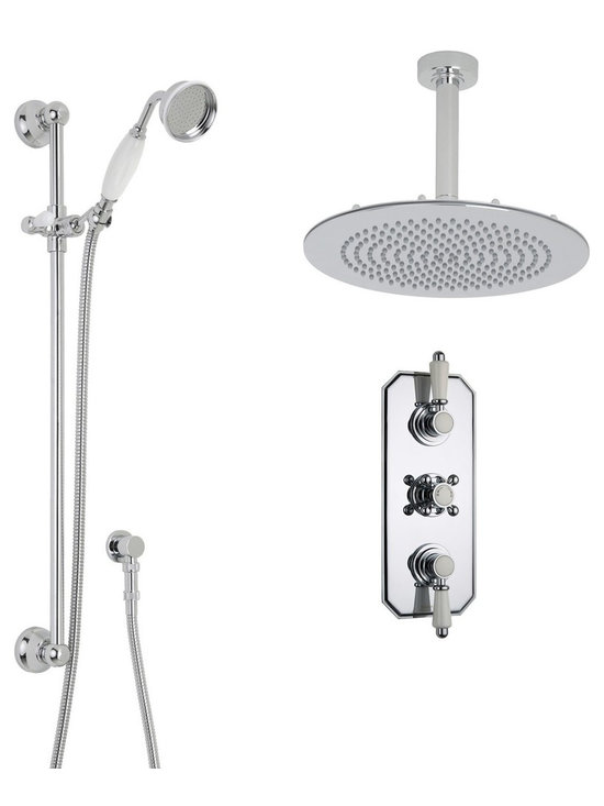 """Hudson Reed - Traditional Thermostatic Shower System, Head & Ceiling Arm & Handset - Enhance your traditional bathroom with this elegant shower system from Hudson Reed, which comes complete with the 12 fixed shower head and ceiling arm, slide rail kit and the triple thermostatic shower valve.Made in Great Britain, the solid brass thermostatic shower valve incorporates an anti-scald device for a safer showering experience, as well as ceramic disc technology for smooth control over the flow and temperature of the water. Hudson Reed Thermostatic Triple Shower Valve Details   Solid brass rough-in valve Made in Great Britain Serviceable check valves and strainers Ceramic Disc Technology Pre-set maximum temperature 104ºf Automatic anti scald device Recommended pressure for best performance 2 to 75 psi  ½ NPT Inlets and Outlets Compatible with standard US plumbing connections Compatible with combi boilers, gravity fed systems, unvented mains pressure systems and for shower pumps Warranty: 10 years  Hudson Reed 12 Round Shower Head Details   IAPMO Approved 1/2 NPT inlets Chrome finish Easy clean nozzles 9.5L/min 2.5gpm regulator installed Supplied with 6 ceiling arm  Hudson Reed Traditional Slide Rail Details   Chrome finish IAPMO approved Easy to fix Includes large brass traditional handset  Shower Consists of:     UFG-HR721Triple Valve Body Only Concealed  UFG-HRPS709Traditional Triple Trim Plate   UFG-HRH709Traditional Crosshead Temperature Handle  UFG-HRH711Traditional Flow Control Lever  UFG-HRSK704Trad' Slider Rail Kit  UFG-HRFH70159"""" Double Lock  UFG-HRH1981/2 Double Check Valve Connector with DW15 Check Valves  UFG-HROE702Minimalist Outlet Elbow  UFG-HRHS705Large Brass Traditional Handset  UFG-HRSH703Round Fixed Head 12""""  UFG-HRAM704Round Ceiling Arm 6"""""""