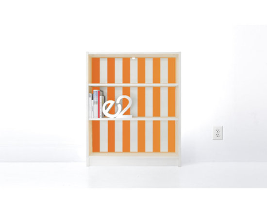 PANYL Tangerine Thick Stripes for IKEA BILLY - Give your bookcase a bold new look with PANYL Thick Stripes. Easy to apply and no mess!