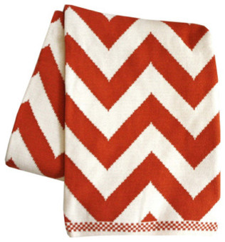 Chevron Knit Throw Blanket, Persimmon eclectic throws