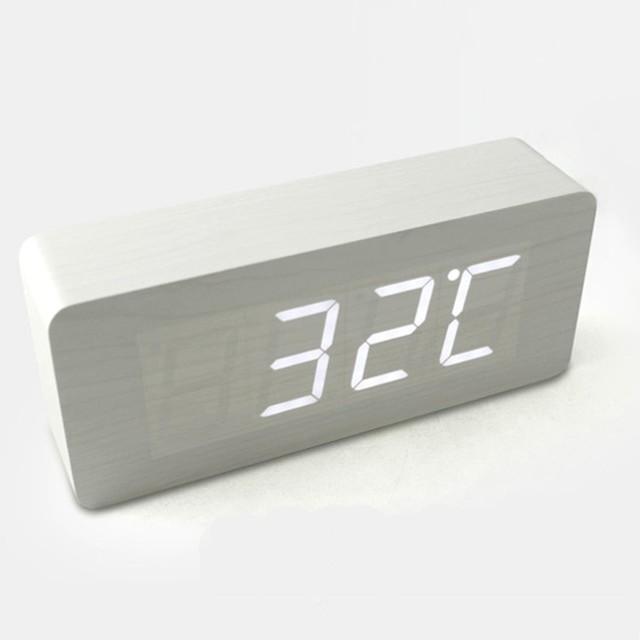 Hito Wood Grain Led Alarm Clock Contemporary Alarm
