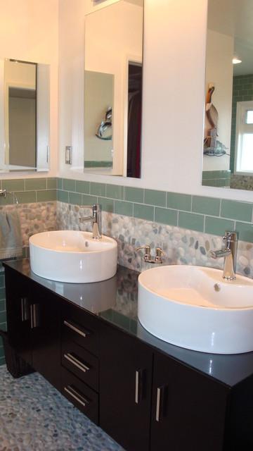 Pebble tile bathroom vanity backsplash contemporary bathroom other metro by pebble tile shop Granite backsplash for bathroom vanity