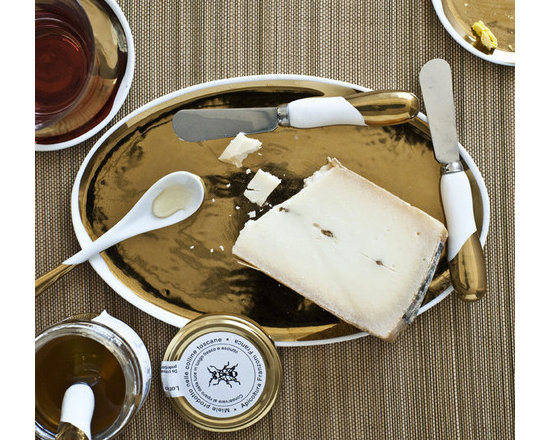 Handmade Gold Glazed Oval Platter -