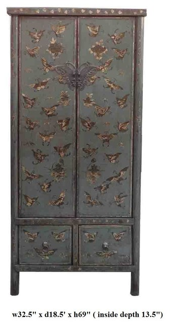 Gray Blue Crackle Lacquer Golden Butterflies Tall Armorie modern-dressers