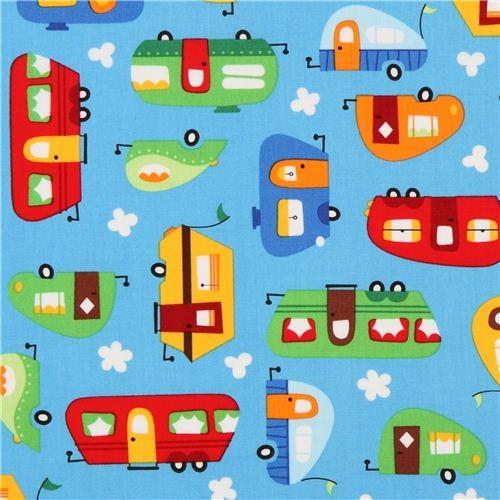 blue camper caravan fabric by Robert Kaufman from the USA  :  fabric from www.houzz.com size 500 x 500 jpeg 66kB