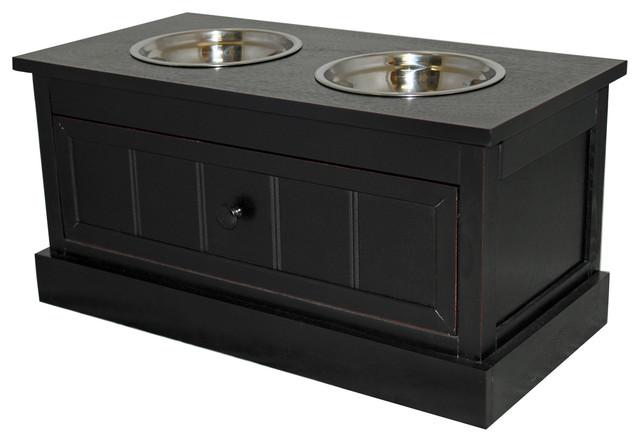 Malibu Solid Wood Pet Bowl Feeder With Storage Drawer - Espresso - Pet Supplies - by ecWorld ...