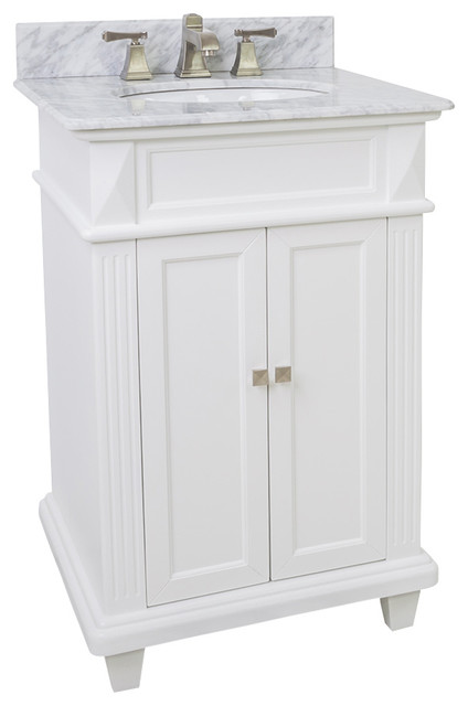 Lyn design vanity white marble top modern bathroom for Marble top console sink