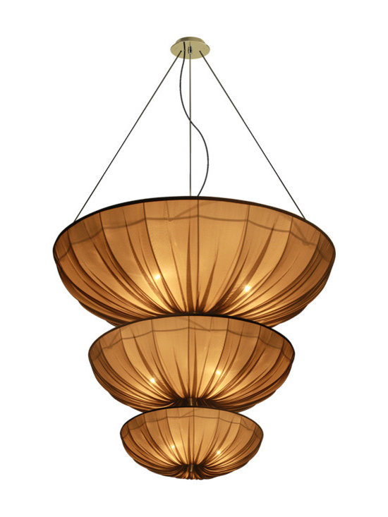 CreativeMary - Medusa Triple Suspension - Medusa Triple Suspension has shimmering natural silk pleats which refract incoming light at different angles. Comes in Brown silk with a Brass finish. Five 40 watt, 120 volt A19 type Medium base incandescent bulbs are required, but not included. 70.9 inch width x 78. inch height