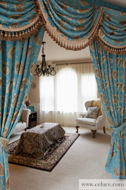 Medici Sapphire, Valance curtains with swags and tails by celuce.com traditional