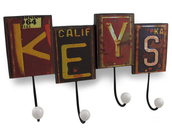 Zeckos - Rustic Retro License Plate KEYS Wall Hook - This cool and whimsical wall hook adds a fun, carefree rustic accent to any room in your home while providing a place to hang your keys, coats, hats or the dog's leash Made from metal, it's made to look like pieces of license plates from all different states, spliced together to spell 'keys', and measures 14.5 inches (37 cm) long, 9 inches (23 cm) high and 3 inches (8 cm) deep. It easily mounts to the wall using the attached hangers on the back, and it makes a great housewarming gift for friend's and family that's sure to be admired