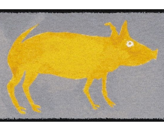 Home Infatuation - Yellow Pig Outdoor Area Rug, 4' X 6', Rubber Backed - This indoor/outdoor area rug is derived from the imaginative series of original art work created by artist David Milliken. Elements from the paintings are extracted to create whimsical, humorous and abstract decorative solutions for both indoors and outside.