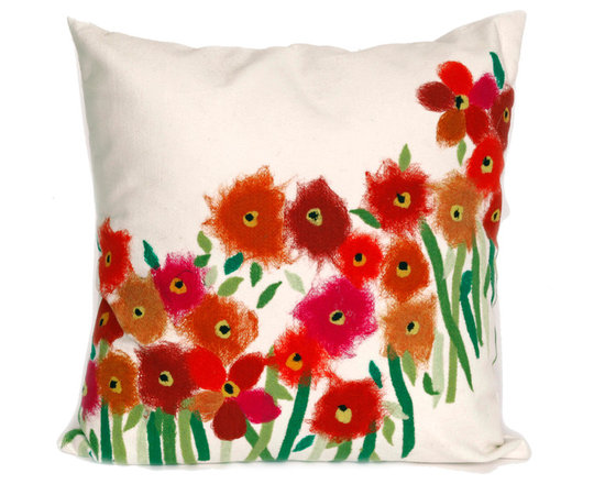 """Trans-Ocean Outdoor Pillows - Trans-Ocean Liora Manne Poppies Red - 20"""" x 20"""" - Designer Liora Manne's newest line of toss pillows are made using a unique, patented Lamontage process combining handmade artistry with high tech processing. The 100% polyester microfibers are intricately structured by hand and then mechanically interlocked by needle-punching to create non-woven textiles that resemble felt. The 100% polyester microfiber results in an extra-soft hand with unsurpassed durability."""