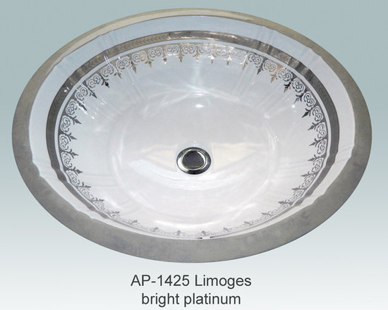"Hand Painted Gold & Patinum Undermounts by Atlantis Porcelain Art - ""LIMOGES BRIGHT PLATINUM"" Shown on AP-1425 white Antigua medium undermount 17""x14""available on bright gold or platinum."