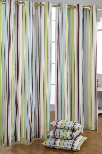 Green Stripe Curtains - Rooms