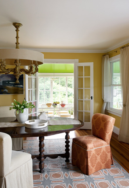 Shingle Style House, Historic Seaside Town, Rhode Island transitional-dining-room