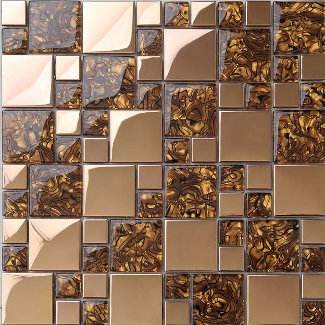 Gold Stainless Steel Wall Tile Porcelain Base Glass Mosaic