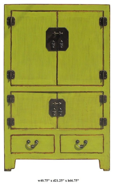 Rustic Green Color Solid Wood Bronze Hardware Large Cabinet / Armoire eclectic