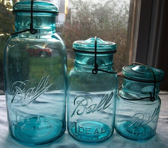 15 Vintage Blue Ball Jar Pints by Mattlaurajones traditional-food-containers-and-storage