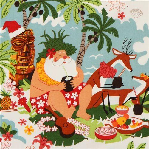 Kawaii Island Go Vacation: Funny Christmas Fabric Alexander Henry Surfin' Santa USA