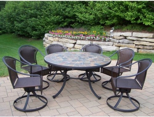Oakland Living Stone Art Deluxe All Weather Wicker Patio Dining Set Seats 6