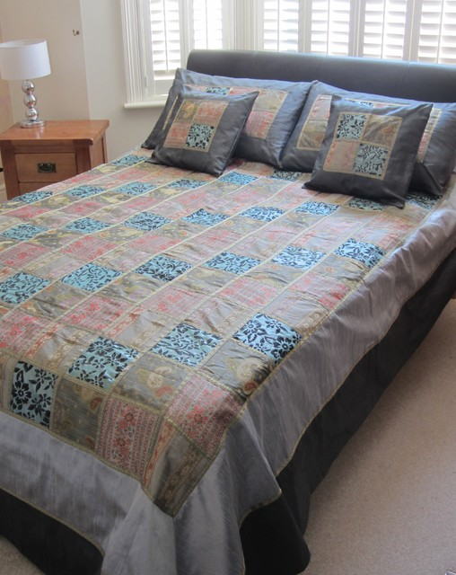 Silver/Grey/Teal Indian Bedspread Set asian-bedding