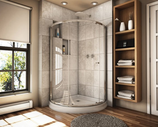 "Fleurco Banyo Amalfi Arc 3 36"" x 36"" Frameless Shower Enclosure EAX363 - Deluxe anti-jump smooth rolling system"