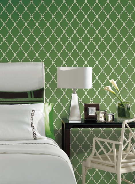 Trellis Wallpaper In Green And Ivory By Antonina Vella, Seabrook Designs contemporary wallpaper