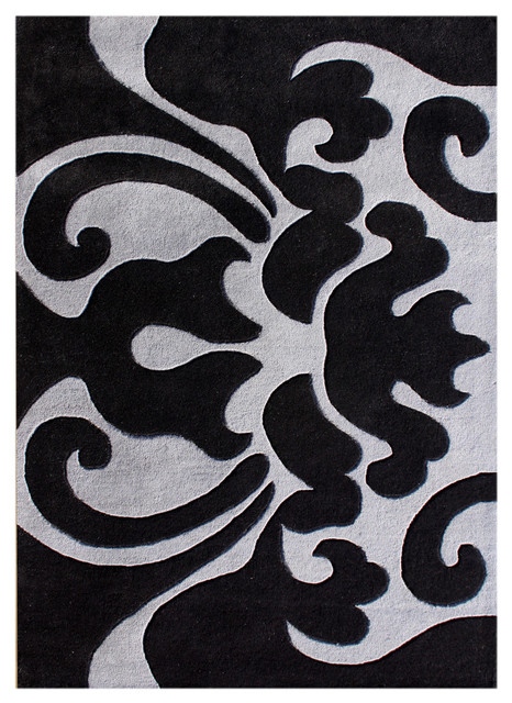 Black And White Tramsitional Rug Black 8x10
