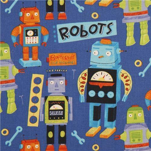 blue robot canvas Kokka fabric for boys fabric