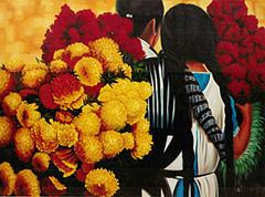 David Villasenor - Flor de SempazuchitlOil Painting on Canvas - DV060