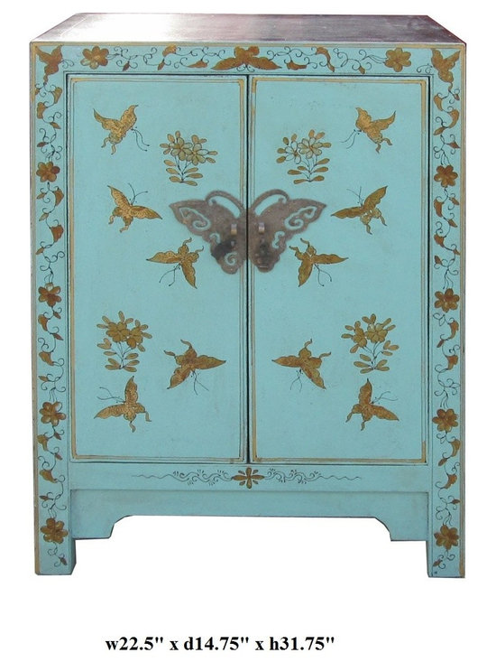 Chinese Blue Base Color Butterflies Graphic End Table - This is a modern end table with blue color base color and hand painted colorful butterflies graphic on the front.