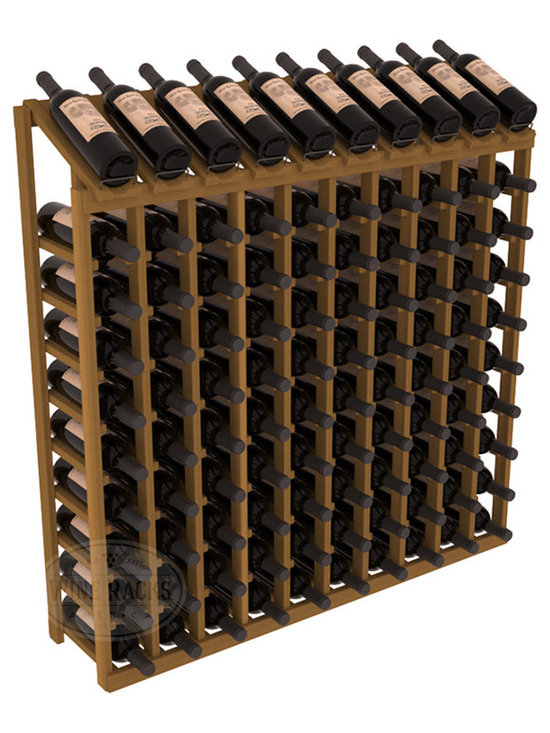Wine Racks America - 100 Bottle Display Top Wine Rack in Redwood, Oak Stain - Make your top 10 vintages focal points of your cellar or store. Our wine cellar kits are constructed to industry-leading standards. You'll be satisfied. We guarantee it. Display top wine racks offer ample storage below a presentation row. Great as a stand alone unit or paired with other modular racks from our product lineup.