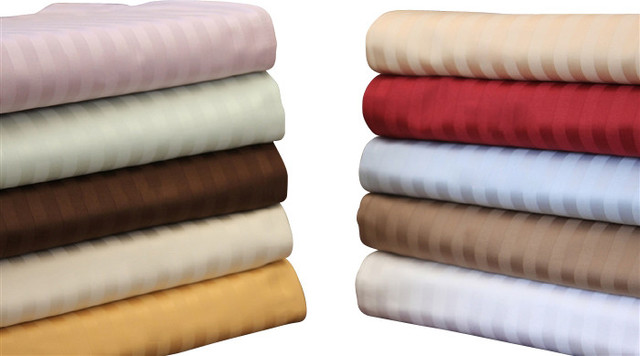 Egyptian Cotton 650 Thread Count Stripe Sheet Sets Queen Beige modern-sheets