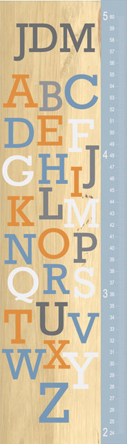 ABCs Wood Inspired Growth Chart by Lil Bit Design eclectic kids decor