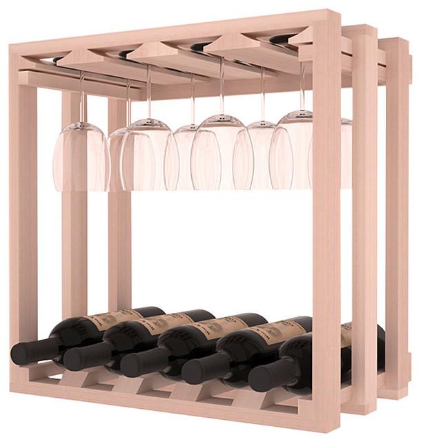 Wine Storage Stacking Stemware Cube in Redwood, White Wash Stain contemporary-wine-racks