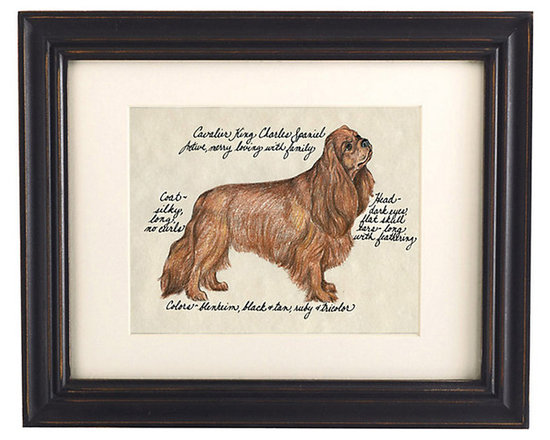 Ballard Designs - Cavalier King Spiel Ruby Dog Print - Printed on antiqued parchment. Eggshell mat. Black wood frame. Glass front. Our Ruby Cavalier King Charles Spaniel Dog Print was created by the dog-devoted, husband and wife team of Vivienne and Sponge. The Cavalier King Charles Spaniel is known for being active, merry and loving with family. Each portrait is signed by the artists, hand colored and embellished with notes on the breed's special characteristics. Ruby Cavalier King Charles Spaniel Dog Print features:. . . . *Please note that personalized items are non-returnable.