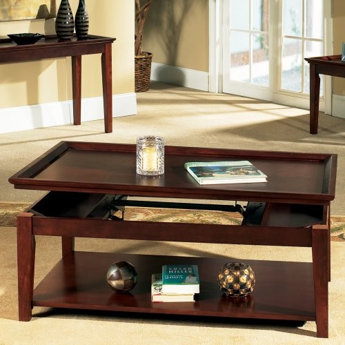 Steve Silver Clemens Rectangle Cherry Wood Lift Top Coffee Table with Casters modern-coffee-tables