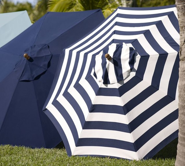 Sunbrella Round Umbrella Awning Stripe Navy