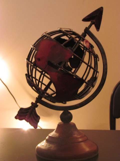 Vintage-Style Globe, Iron, Red Wood Base by Rock N Dhol traditional-home-decor