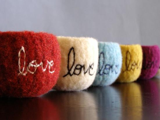 Felted Wool Bowl with Love Embroidered by thefuzzymonkey modern-home-decor