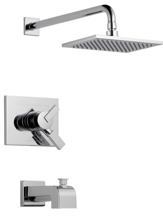 Delta - Vero Monitor 17 Series Tub and Shower Trim - Delta T17453 Vero Monitor 17 Series Tub and Shower Trim with Volume Control, Tub Spout and Single Function Showerhead in Chrome.
